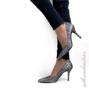 N I N E West • Glitter Flax Party Heels